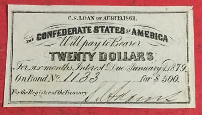 1861 $20 US Confederate States of America! Genuine! OLD US! CHOICE FINE!