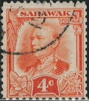 Lot 5176 - Sarawak 1932 4c orange Sir Charles Vyner Brooke used definitive stamp