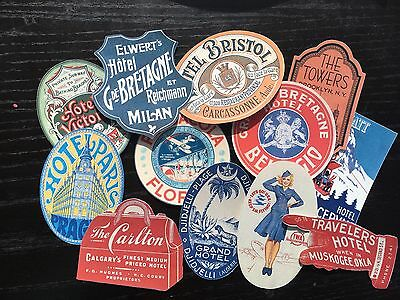 BB81 -- Lot of 12 Vintage Luggage Tags Hotel Poster DIE CUTS for CARD MAKING