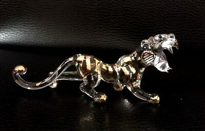 Tiger Hand Blown Glass Miniature Animal Figurine Collectible Gift Home Decor Wh