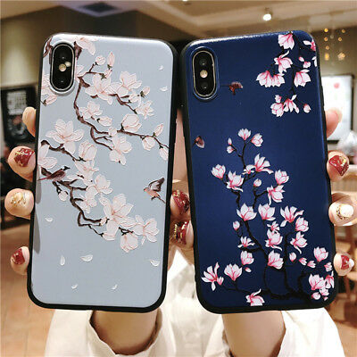 For iPhone XS Max XR X 6s 7 8 Plus Thin Soft Retro Relief Flower Back Case Cover