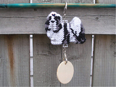 Shih Tzu #3 w/ Navy Blue bow dog crate tag or hang anywhere pet sign ornament