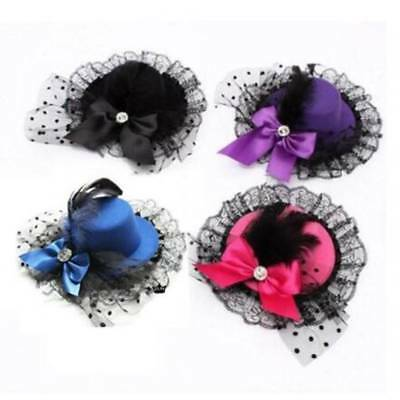 Women Lady Hair Accessory Party Fascinator Mini Top Hat Rhinestone Feather Bow