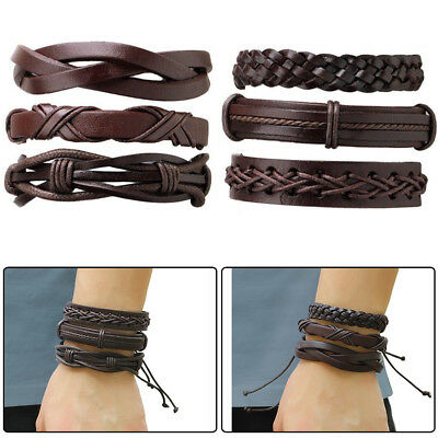 6x Brown Braided Leather Bracelet for Men Women Cuff Wrap Wristband Set Gift New