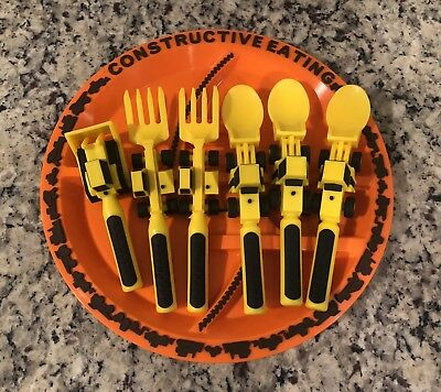 Construction Plate And Utensils By Constructive Eating