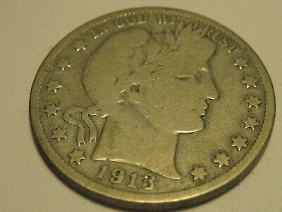 1913-P Barber Half Dollar VG KEY DATE