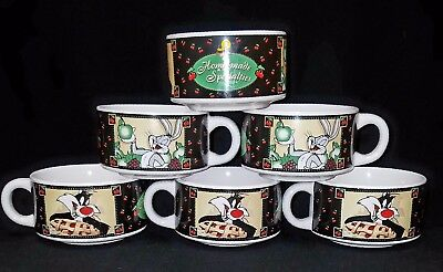 """Looney Tunes 6 SOUP BOWLS """"Home-Made Specialties"""" BUGS SYLVESTER TWEETY Warner B"""