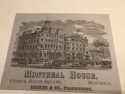 Montreal House Hotel 1800s Advertising Paper Montreal Quebec Canada