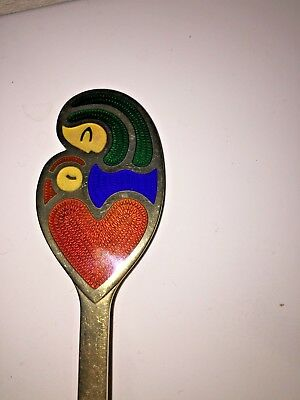 Vintage 1968 Mother and Child A.Michelsen Denmark Sterling Silver Enamel Fork
