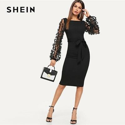 249aa06a5b Black Party Elegant Flower Contrast Mesh Sleeve Form Fitting Belted Dress  Women