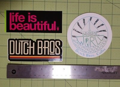 Dutch Bros brothers Sticker coffee a better world life is beautiful logo