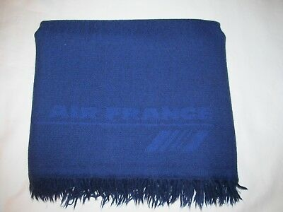 vintage AIR FRANCE virgin wool airline blanket first class travel couch throw EC