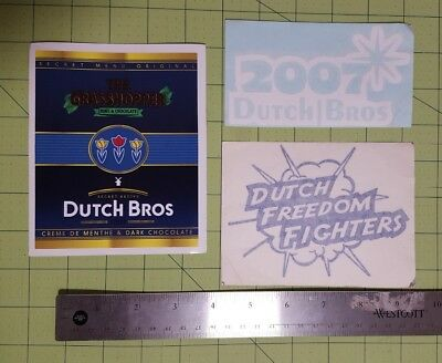 Dutch Bros brothers Sticker coffee Freedom Fighers 2007 new years Grasshopper