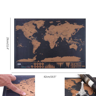 Deluxe Edition Scratch Travel Log Off Large Poster Personalized World Map Poster