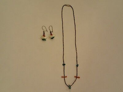 Native American Indian Style Coral, Silver,Turquoise Necklace & Earrings