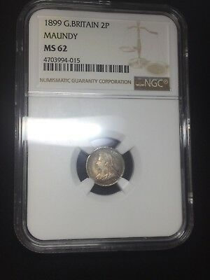 1899 G. Britain 2 Pence Silver Maundy MS 62 NGC