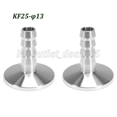 2Pcs Vacuum Adapter KF-25 Stainless Steel 304 Flange to OD 13mm Rubber Hose Barb