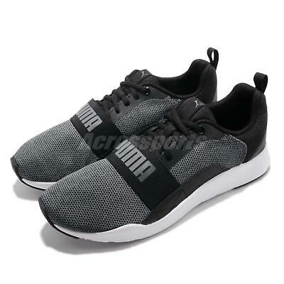 ff34893a43f17 Puma Wired Knit Black Grey White Men Running Casual Shoes Sneakers 366971-01