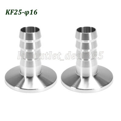 Vacuum Adapter KF-25 Stainless Steel 304 Flange to OD 16mm Rubber Hose Barb 2Pcs