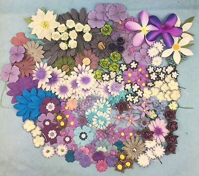 200 Assorted Mulberry Paper Flowers, Roses & Petals - Various Sizes Purple Theme
