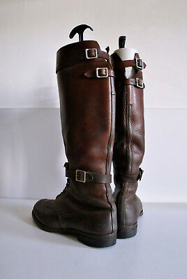 1940s Vintage Motocycle Engineer 8 Leather Boots Cavalry Ar,y PANCO Officer