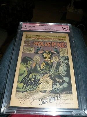 RARE Stan Lee Signed INCREDIBLE HULK 181 Coverless 1st Wolverine CBCS Verified