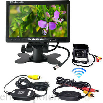 "Wireless Rear View Back up Camera Night Vision System+7"" Monitor fr RV Truck Bus"