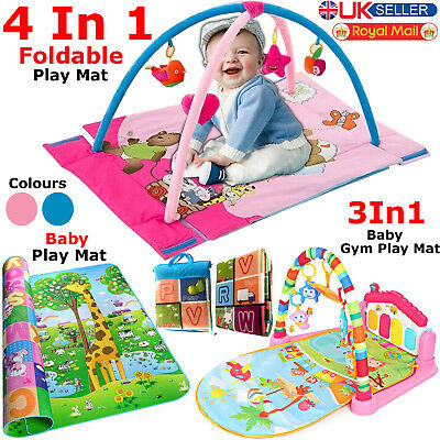 2 Side Kids Baby Play Mat Educational Game Gym Crawling Fitness Music & Lights