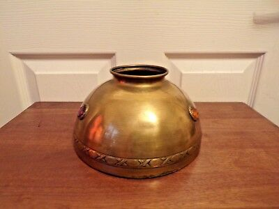 French Late 19th Century Brass Oil Lamp Shade with Glass Coloured Facet Inserts