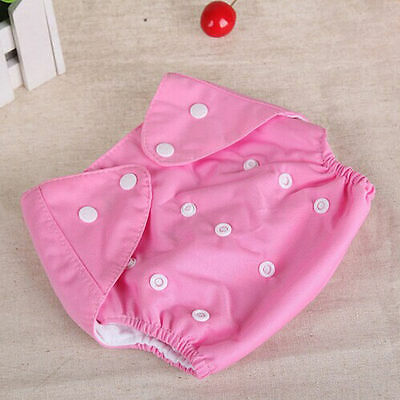 Adjustable Reusable Lot Baby Kids Boys Girls Washable Cloth Diaper Nappies Pink
