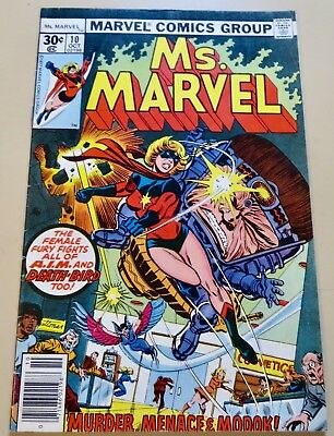 18-C1575: Ms. Marvel # 10, 1977, VF- 7.5! Movie out March 2019! See Promo!