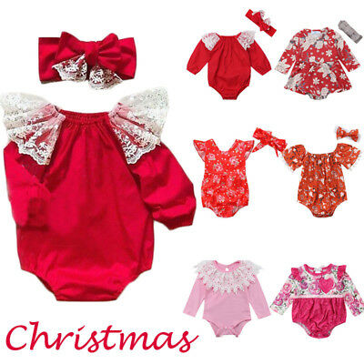 Christmas Xmas Newborn Kid Baby Girls Cotton Romper Bodysuit Outfit Clothes