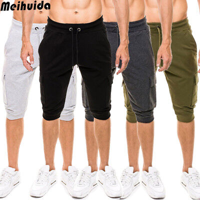 New Mens Elasticated Waist Cotton Cargo Combat 3/4 Long Knee Length Shorts Pants