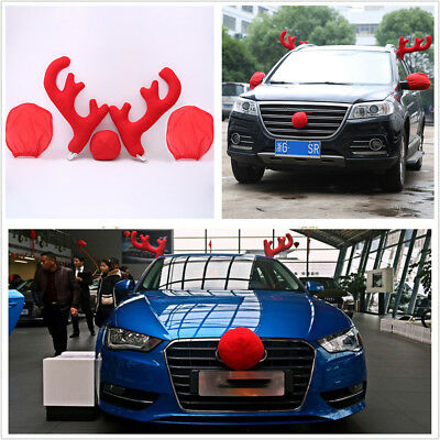 5Pcs Plastic+Plush Antlers+Nose+Mirror Cover Car Costume Christmas Decor Tools