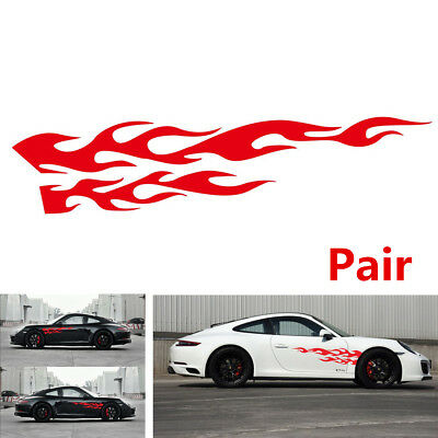 """Universal Pair Red Flame Graphic Car Truck Race Door Side Decal Stickers 11""""x48"""""""