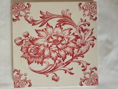 English Period Tile. Pretty Pink Flower Decoration. Arts And Crafts Style