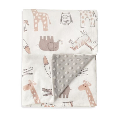 """Boritar Soft Baby Blanket with Minky Raised Dotted Love Animals Printed 30""""x40"""""""
