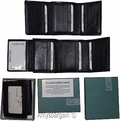 RFID blocking Men's Wallet Genuine Leather Trifold Wallet 11 Credit Card in Box
