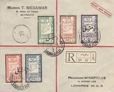 Q1215 Syria Union stamps reg FDC 1 April 1943; JANVIFR flaw 10p stamp