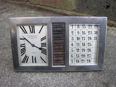 "GOOD QUALITY C1900 FRENCH ""JUST"" DESK CLOCK with DAYS of the WEEK & CALENDAR"