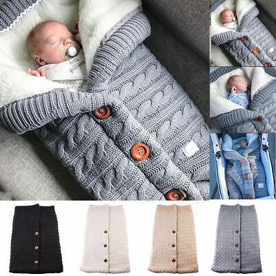 Newborn Infant Baby Blanket Knit Crochet Winter Warm Swaddle Wrap Sleeping Bag U