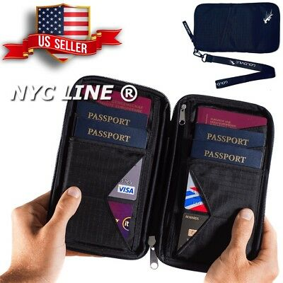 Document Organizer Case Travel Wallet & Family Passport Holder w/ RFID Blocking