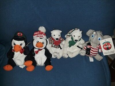 Vintage 90s Coca Cola Plush Lot Of 5 Stuffed Animals Elephant Polar Bear Penguin
