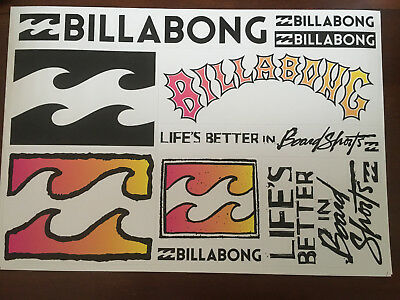 Vintage Billabong Sticker Sheet 1990's Original New Old Stock Surf Stickers