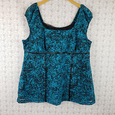 Womens Lane Bryant Turquoise and Black Sleeveless Top Shirt Lace Look Size 14/16