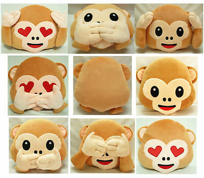 1X Soft Emoji Smiley Emoticon Round Cushion Stuffed Plush Toy Doll 32cm Pillow