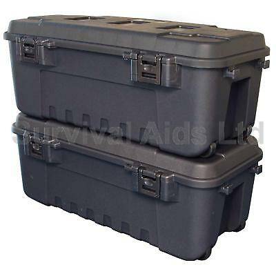 Pack of 2, Black Military Storage Trunks Plano Heavy Duty