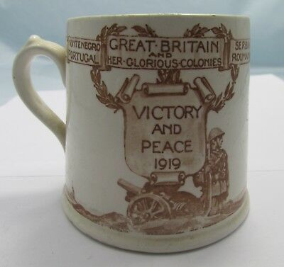 Antique Ww1 Victory & Peace 1919 Dudley Borough Mug Royal Doulton Crested China*