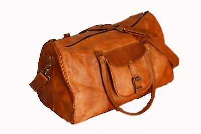 leather travel luggage overnight large gym mens bag Duffel 22x10x6 Inch