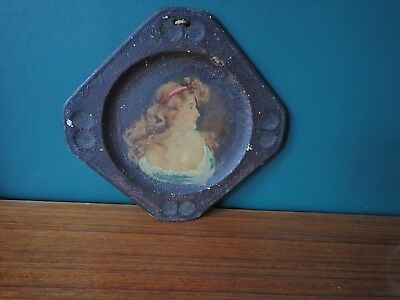 Old French plate, advertising item, with hand coloured painting